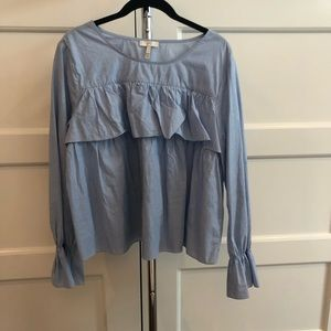 Joie blue cotton frilly blouse